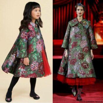 Dolce Gabbana Girl Mini Me Green Floral Coat Runway