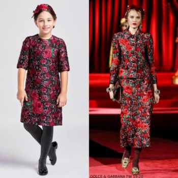 Dolce & Gabbana Girl Mini Me Red Jacquard Floral Runway Dress