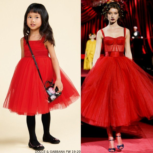 Girl Mini Me Red Tulle Party Dress