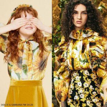 Dolce & Gabbana Girl Mini Me Yellow Silk Sunflower Blouse & Skirt