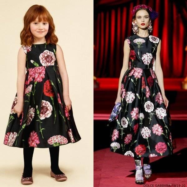 Dolce Gabbana Girls Black Mini Me Floral Print Silk Runway Dress