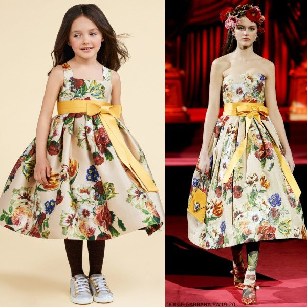 Dolce Gabbana Girls Gold Mini Me Floral Print Runway Dress