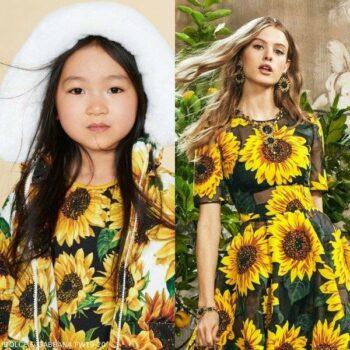 Dolce & Gabbana Girls Mini Me Yellow Black Sunflower Dress Fall Winter 2020