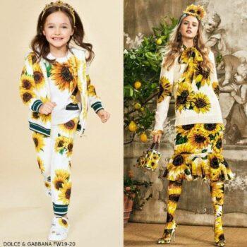 Dolce and Gabbana Girls Mini Me White & Yellow Sunflower Zip up Sweatshirt Pants