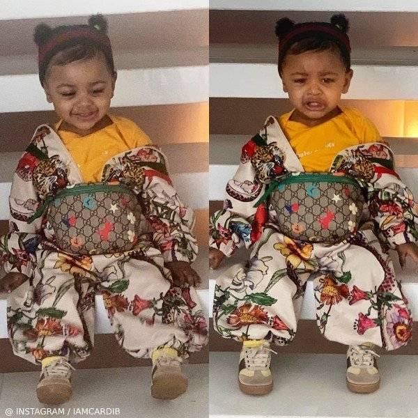 Cardi B Daughter Kulture Gucci Baby Girl Mini-Me Flora Print Zip Up Sweatshirt & Jogger Pants