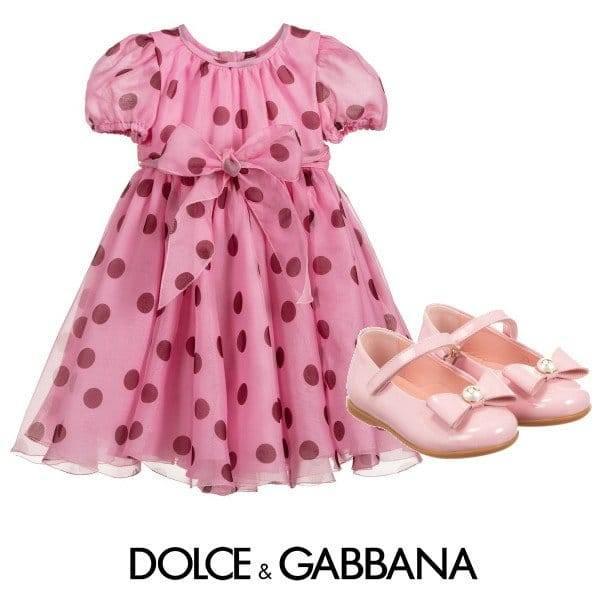 Dolce & Gabbana Baby Girl Mini-Me Pink Silk Polka Dot Dress Spring 2020