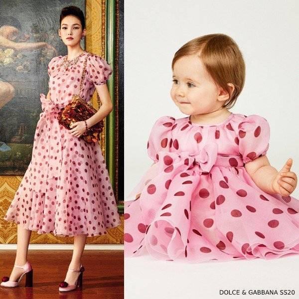 Dolce & Gabbana Baby Girl Mini Me Pink Silk Polka Dot Dress