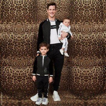 Dolce Gabbana Boy Mini Me Black Jacquard Bomber Jacket