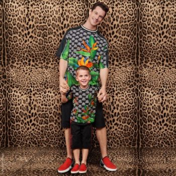Dolce & Gabbana Boy Mini Me Black Jungle Print King Logo Shirt