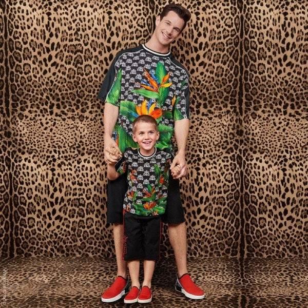 Dolce & Gabbana Boy Mini Me Black Jungle Print King Logo Shirt