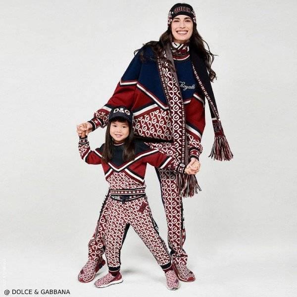 Dolce Gabbana Girl Mini Me Red Blue DG Mania Logo Sweatshirt Pants