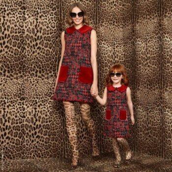 Dolce Gabbana Girl Mini Me Red Wool Tweed Velvet Dress