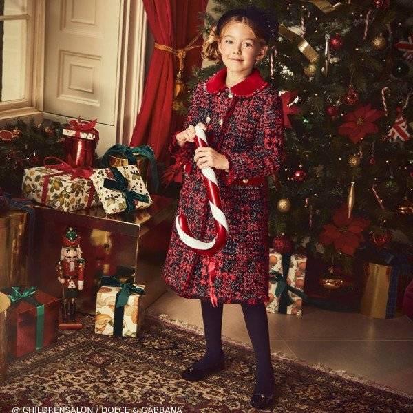 Dolce Gabbana Girls Red Wool Tweed Coat