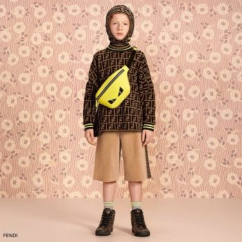 Fendi Boys Brown FF Logo Sweatshirt Beige Velour Long Shorts