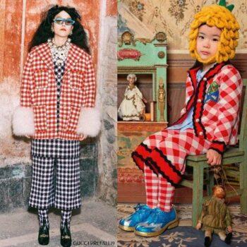 Gucci Girl Mini Me Red Check Wool Cardigan & Pants