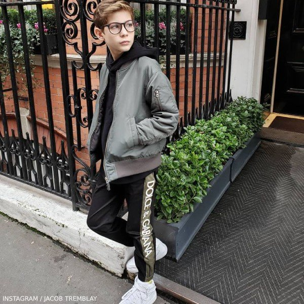 Jacob Tremblay Dolce Gabbana Mini Me Black Logo Joggers London