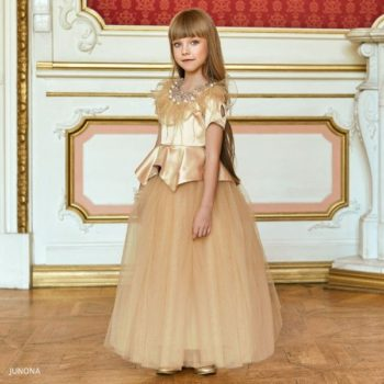 Junona Girl Gold Satin Feather Top Tulle Skirt Outfit