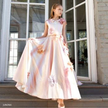 Junona Girl Pink Flower Long Satin Party Dress