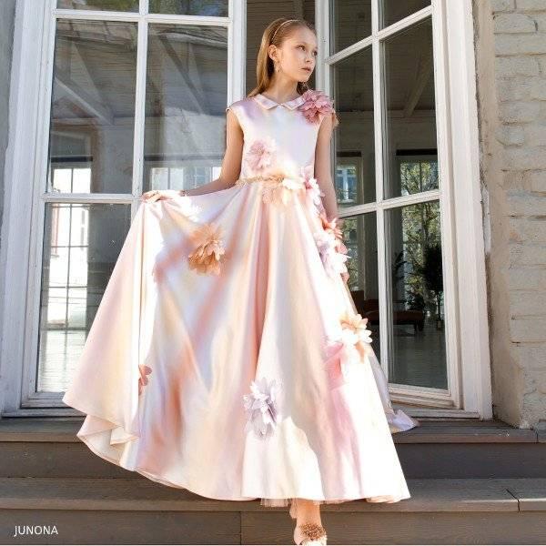 Junona Girl Pink Flower Long Satin Party Dress