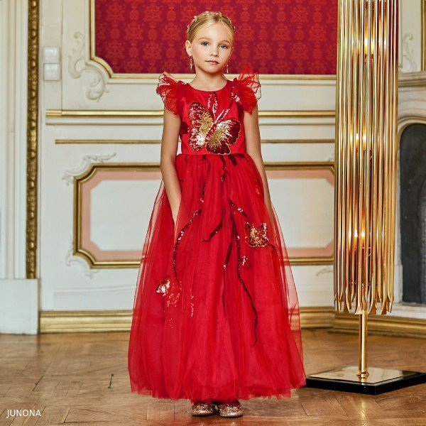 Junona Girl Red Tulle Sequin Butterfly Long Formal Party Dress