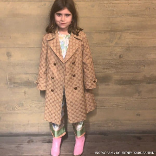 Penelope Disick Gucci Girls Mini Me Beige GG Logo Canvas Trench Coat