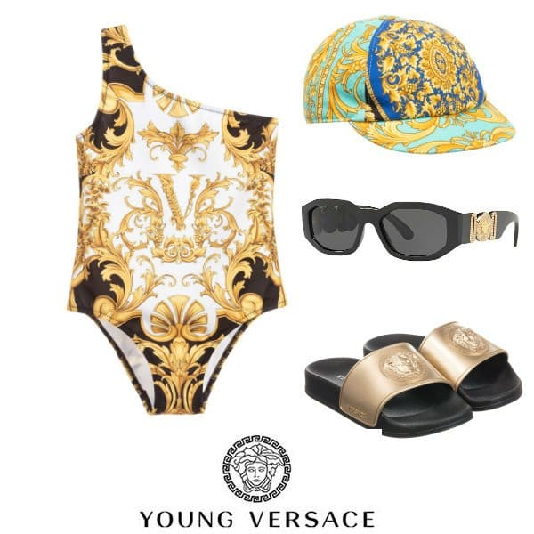 Penelope Disick Young Versace Black & Gold Baroque Swimsuit