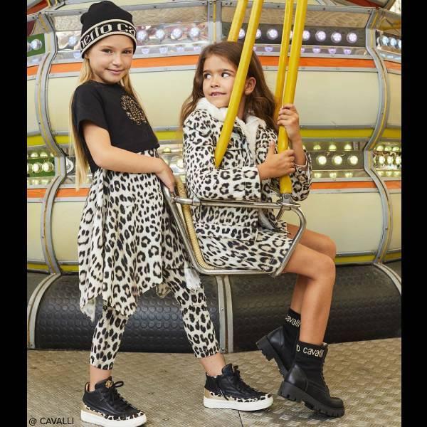 Roberto Cavalli Junior Girls Black Beige Jaguar Print Dress