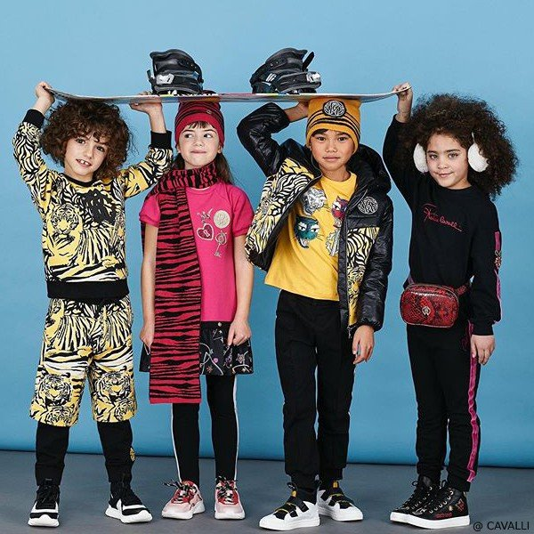 Roberto Cavalli Kids Black Tiger Jacket Sweatshirt Pants