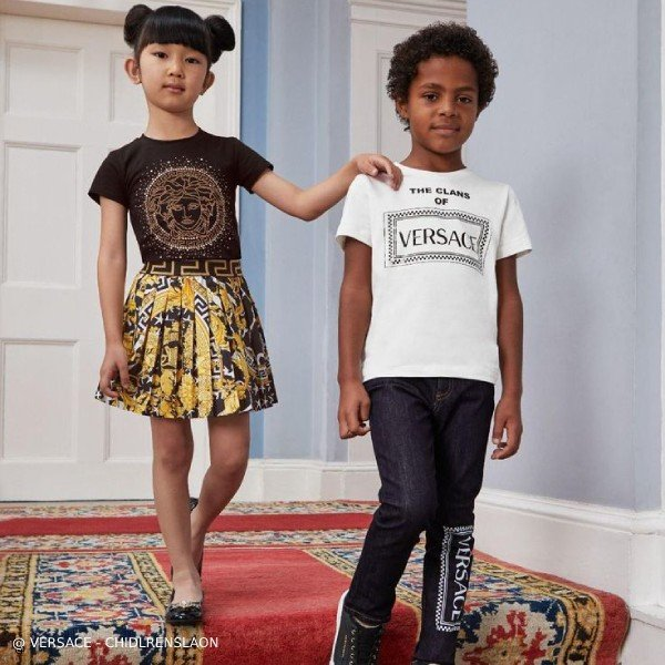 Young Versace Girls Black Medusa T-Shirt Savage Baroque Black Gold Print Skirt