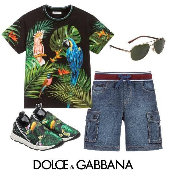 Dolce & Gabbana Boy's Mini-Me Black Cotton Parrots T-Shirt Spring 2020