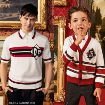 Dolce & Gabbana Boy Mini Me DNA Ivory & Red Logo Cardigan Sweater