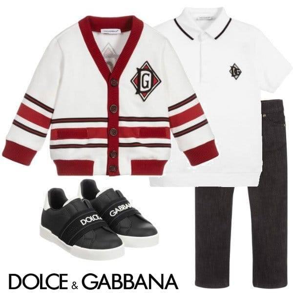 Dolce & Gabbana Boy Mini-Me DNA Ivory & Red Logo Cardigan Sweater Spring 2020