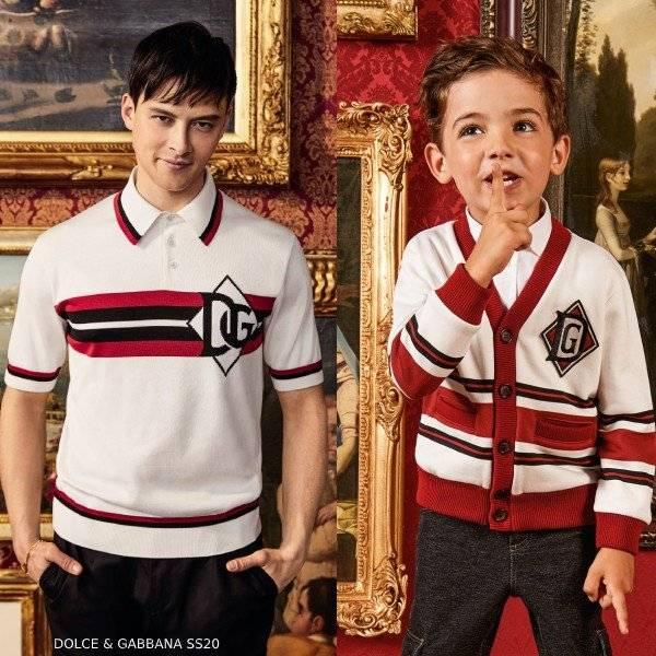 Dolce & Gabbana Boy Mini Me DNA Ivory & Red Logo Cardigan Sweater