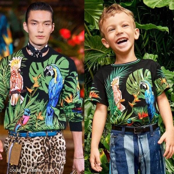 Dolce & Gabbana Boys Mini Me Black Cotton Parrots T-Shirt