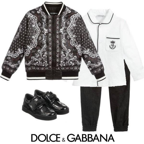 Dolce Gabbana Boys Mini Me Black White DNA Bomber Jacket spring 2020