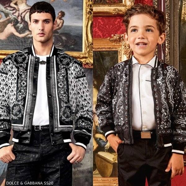 Dolce Gabbana Boys Mini Me Black White DNA Bomber Jacket