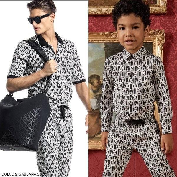 Dolce & Gabbana Boys Mini Me DNA Black Logo Shirt Pants