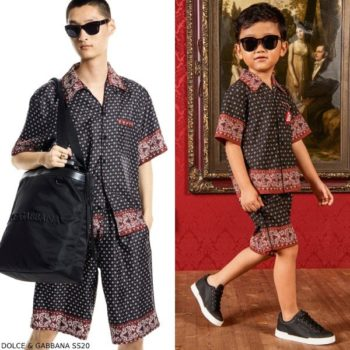 Dolce & Gabbana Boys Mini Me DNA Black Red Bandana Print Shirt Shorts