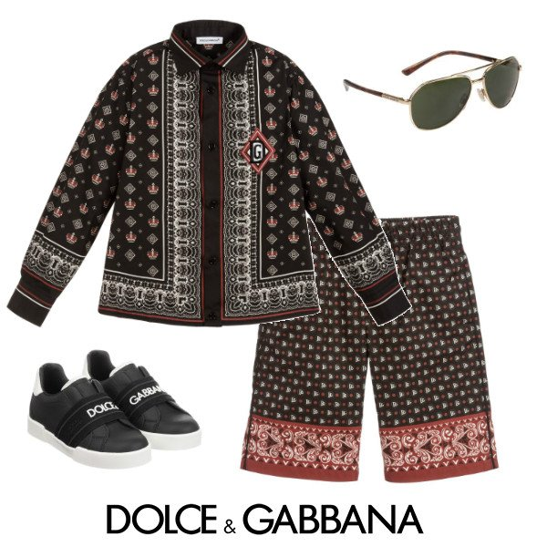 Dolce & Gabbana Boys Mini Me DNA Black Red Bandana Print Shirt & Shorts Spring 2020