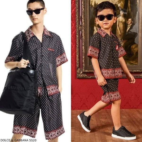 Dolce & Gabbana Boys Mini Me DNA Black Red Bandana Print Shirt Shorts