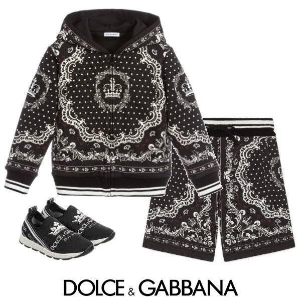 Dolce & Gabbana Boys Mini Me DNA Black & White Crown Sweatshirt & Shorts Spring 2020