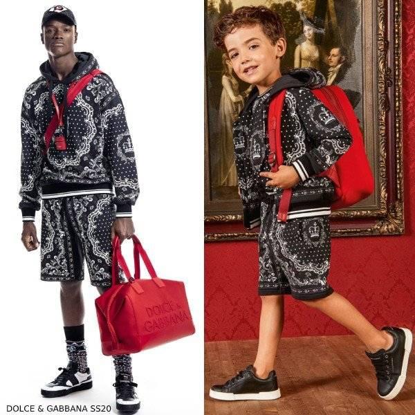 Dolce Gabbana Boys Mini Me DNA Black White Crown Sweatshirt Shorts