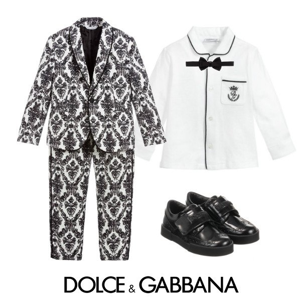 Dolce & Gabbana Boys Mini Me DNA Black & White Suit Spring 2020