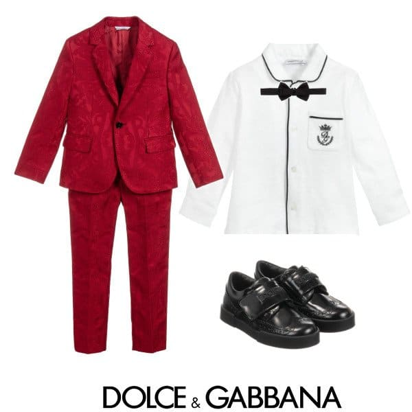 Dolce & Gabbana Boys Mini Me DNA Red Jacquard Suit spring 2020