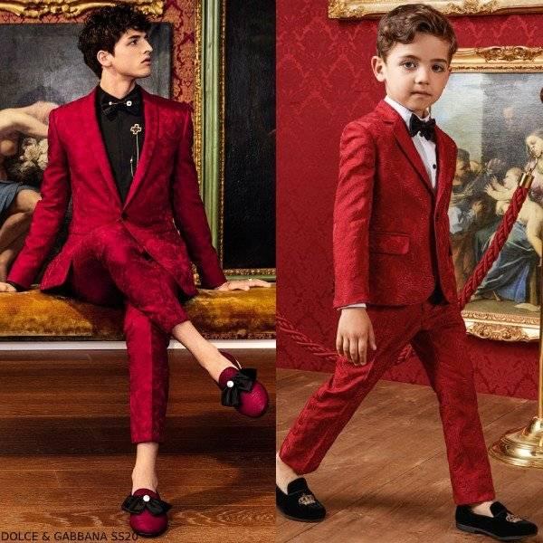 Dolce & Gabbana Boys Mini Me DNA Red Jacquard Suit