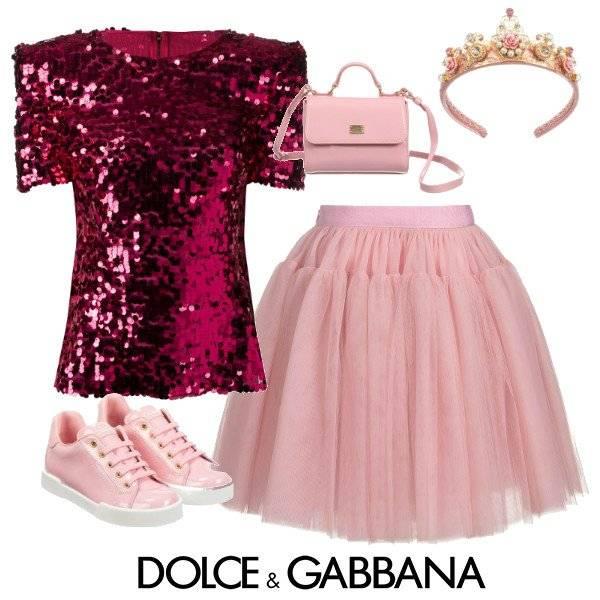 Dolce & Gabbana Girl Dolce & Gabbana Girls Mini-Me Pink Tulle Tutu Skirt & Pink Sequin Shirt spring 2020