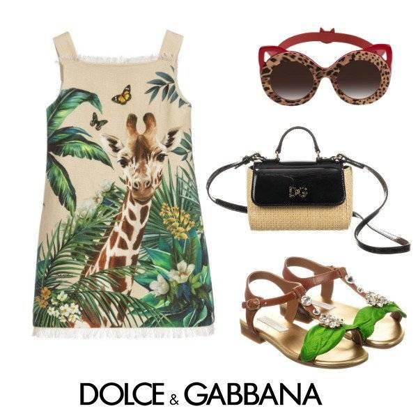 Dolce & Gabbana Girl Mini Me Beige Linen Giraffe Runway Dress Spring 2020