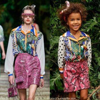 Dolce & Gabbana Girl Mini Me Floral Parrot Shirt Pink Snakeskin Print Shorts
