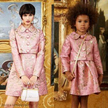 Dolce & Gabbana Girl Mini Me Pink & Gold Brocade Jacket Skirt