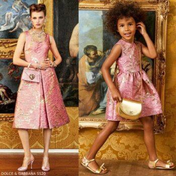 Dolce Gabbana Girl Mini Me Pink Gold Brocade Party Dress SS20